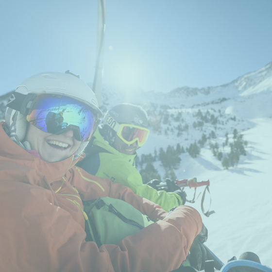 Students on ski lift