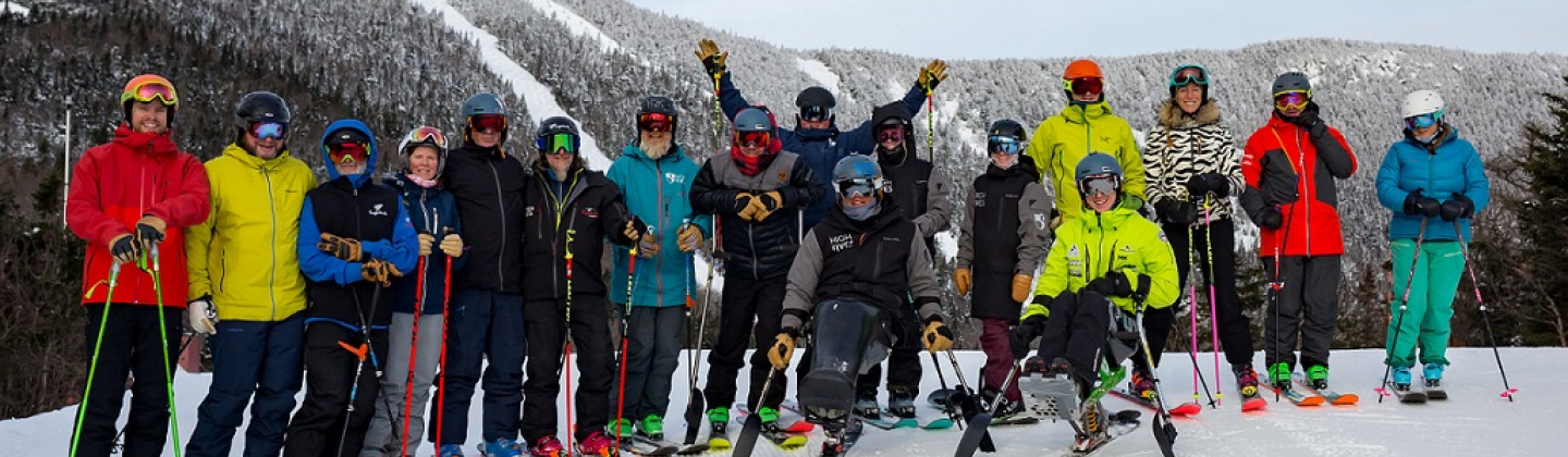 Group skiing in Sugarbush resort