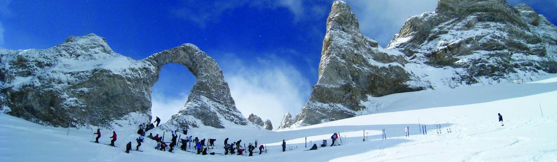 Senior school group skiing in Tignes