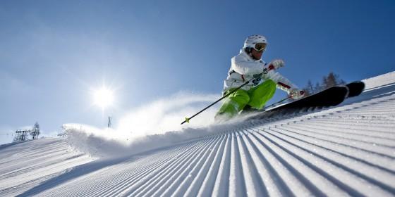 Close-up shot of skier on slopes | Austria