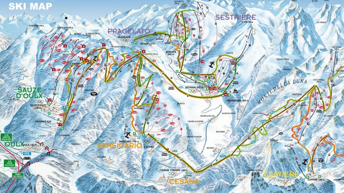 Cesana Piste Map | Italy