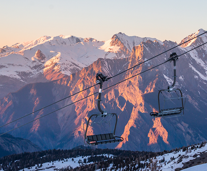 Chairlift in Valloire at sunset